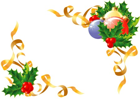 Christmas decoration Holly, balls and ribbon  vector  The layers are separated