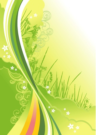 grass, flowers and abstract lines background / vector illustrationLayers are separated! A4 / cmyk Vettoriali
