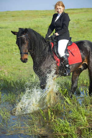 horsewoman and her horse / spray water