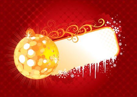 Christmas Frame / red and gold / vector /  with copy space