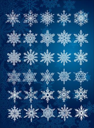 30 unieke sneeuwvlokken in alle / 6 verschillende sets / vector