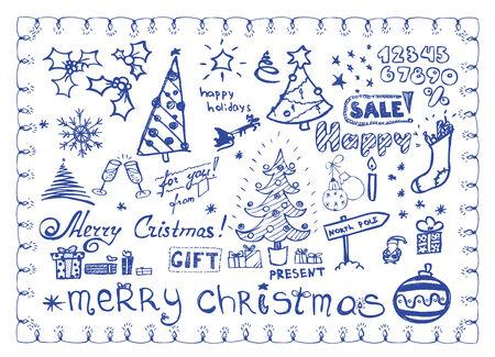Christmas doodles / vector illustrations set Vettoriali