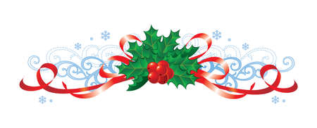 Christmas decoration with holly and ribbons / vector
