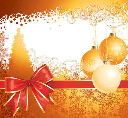 Christmas background with decorations and bow / vector / copy space for your text Vettoriali