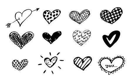 doodles hearts set