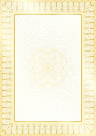 Golden Classic guilloche border for diploma or certificate with protective  ornament / vector/ A4 vertical / CMYK color / Layers are separated! Editing is easy