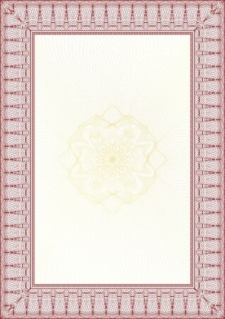 Golden and Red Classic guilloche border for diploma or certificate with protective  ornament Vettoriali