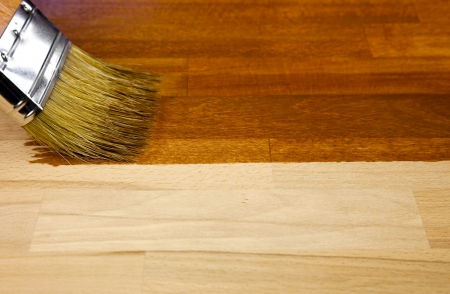 Wood texture and paintbrush  housework background