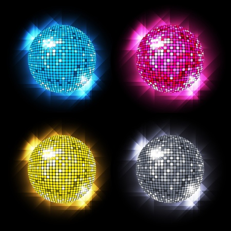 Disco Ball Set with different colors /eps10 Vettoriali