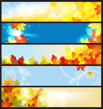 Vector Banners Set / Beautiful Autumn Day / eps 10 Vettoriali