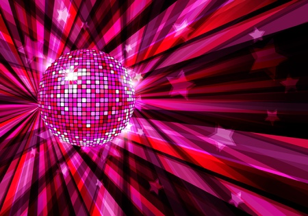 Disco Ball background with rays and stars Vettoriali