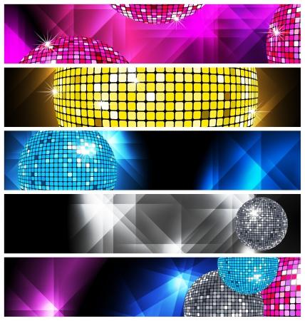 Ensemble de 5 bannières disco et discothèque Vecteurs