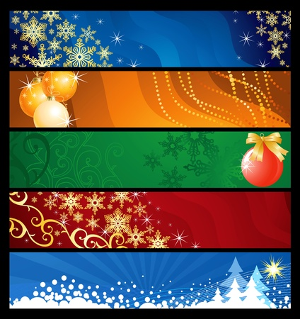 Set of five Christmas  banners colourful backgrounds