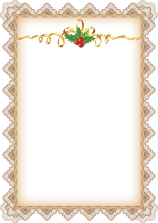 Vintage Christmas Page with Holly, Gold Ribbon and Guilloche Border Vettoriali