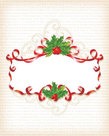 Christmas Holly Banner Background with text Vektoros illusztráció