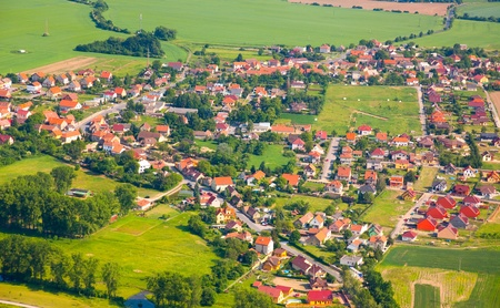 Aerial view of countryside with village and farmland Stock Photo