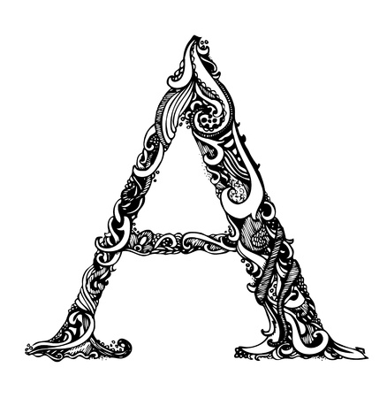 Capital Letter A - Calligraphic Vintage Swirly Style / Hand Drawn / One Element - Color Change Easy / Vector Vettoriali