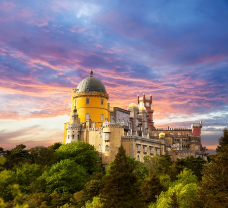 Fairy Palace against sunset sky Panorama of Pena National Palace in Sintra, Portugal Europe