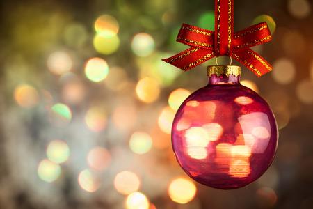 Christmas  bauble over Beautiful magic bokeh background -  horizontal 스톡 콘텐츠