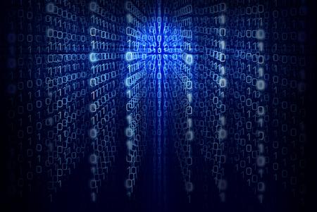 이진 컴퓨터 코드 - 매트릭스 블루 추상적 인 배경 스톡 콘텐츠