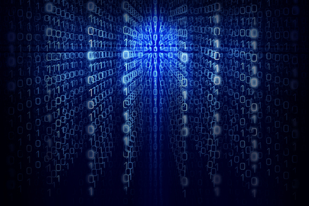 Binary computer code - Matrix Blue Abstract background