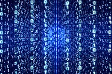 Blue Matrix Samenvatting - Nullen en enen - Digitale achtergrond Stockfoto