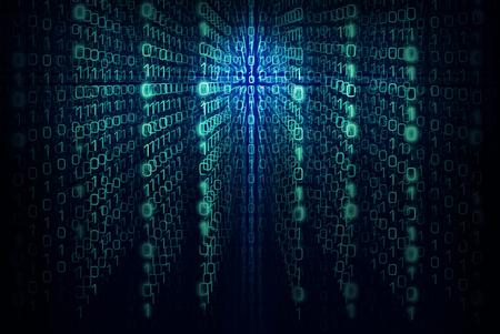 Matrix program background with the green and  blue symbols Archivio Fotografico