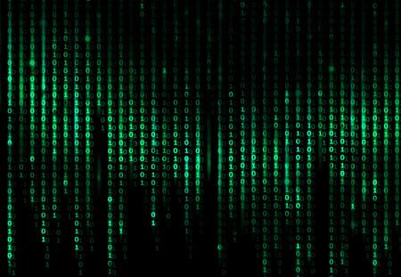 녹색 디지털 추상적 인 배경, 컴퓨터 이진 코드