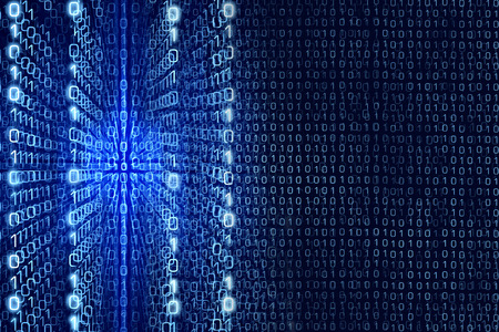 Blue Matrix Abstract - Zeros and Ones - binary code Digital background