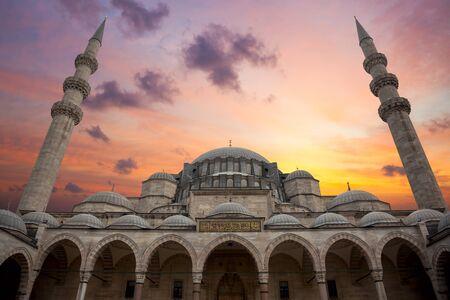 ブルー モスク、美しい空とアーキテクチャ, イスタンブール, トルコ, 大きなサイズの素晴らしい日の出 写真素材