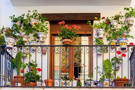 Traditionele Europese Balkon met kleurrijke bloemen en bloempotten