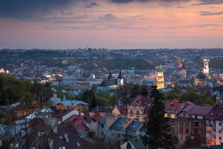 Panoramic Aerial view of old town at sundown. Lviv, Ukraine, Europe 스톡 콘텐츠