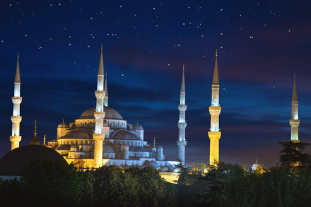 Blue Sultanahmet Mosque at night time with fantastic sky and stars, Istanbul, Turkey 스톡 콘텐츠