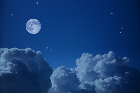 Fantastic view of  Night Sky - Clouds, Stars and the Moon, background with copy space Stock Photo