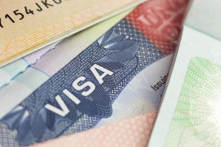 USA visa in a passport - selective focus - macro  background