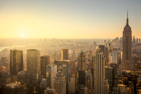 New York City skyline with urban skyscrapers at gentle sunrise, famous Manhattan view, USA Stock fotó - 50960925