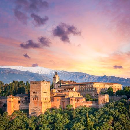 Fantastic Ancient Alhambra at thel evening time, Granada, Spain, European travel landmark