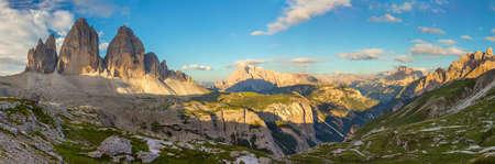 Panorama of Famous Tre Cime di Lavaredo at the morning, Dolomites Alps, Italy, European travel 版權商用圖片