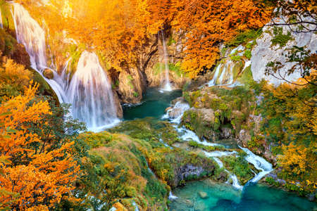 Autumn (Fall) landscape with picturesque waterfalls, Plitvice Lakes National Park in Croatia, Europe