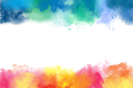 Colorful watercolor abstract borders background - easy use different border or together, big size