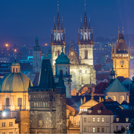 Fantastic aerial view of Prague night landmarks - roofs, castles and churches domes, Czeh, Europe Stock fotó