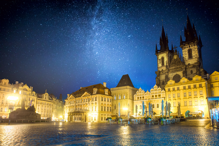Famous Old Town Square at night in Prague with stars sky, Czech Republic, Europe Stock Photo