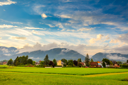 Picturesque small town village in mountains area. Tourism, agriculture and ecology style life