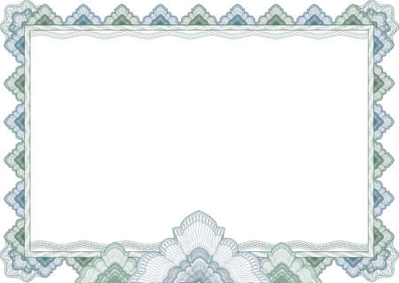 Classic guilloche border frame background for diploma or certificate with protective ornament Imagens