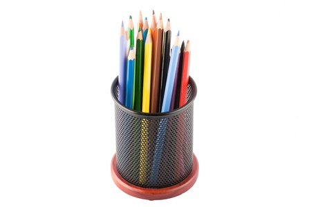 Pencils in a pencil holder. photo