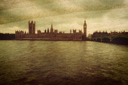 Grunge vintage background with Houses of Parliament, UK