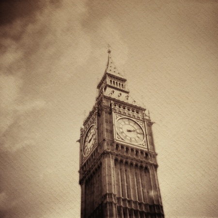 Grunge vintage background with Big Ben on a handmade paper background