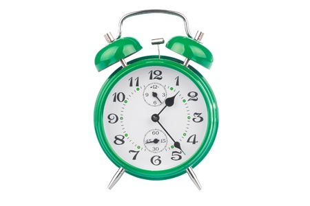 Green alarm clock isolated on white background Stock Photo - 9279108