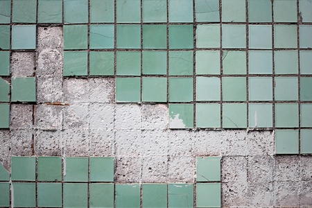 Texture of the old tile wall with cracks   Stock Photo - 9360343