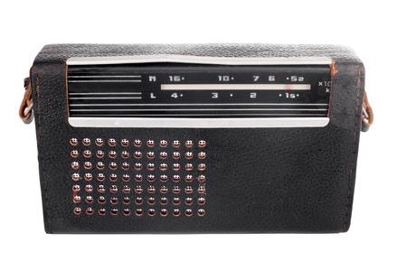Portable old soviet radio, isolated on white background.  photo